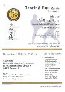 Neuer Anfängerkurs 04/2015 Schweich